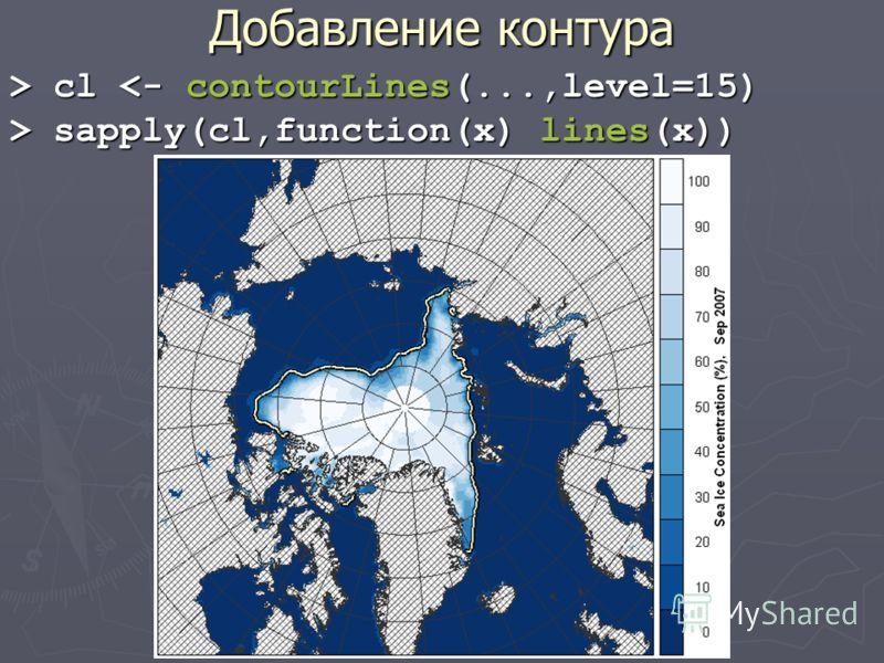 Добавление контура > cl cl  sapply(cl,function(x) lines(x))