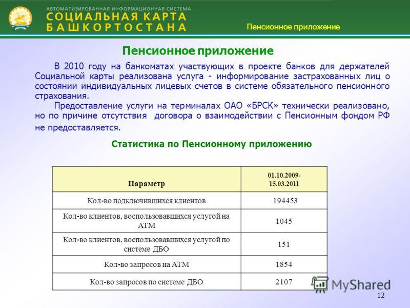 12 Пенсионное приложение В 2010 году на банкоматах участвующих в проекте банков для держателей Социальной карты реализована услуга - информирование застрахованных лиц о состоянии индивидуальных лицевых счетов в системе обязательного пенсионного страх