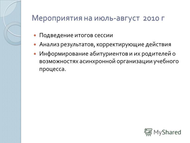 Мероприятия на июль - август 2010 г Подведение итогов сессии Анализ результатов, корректирующие действия Информирование абитуриентов и их родителей о возможностях асинхронной организации учебного процесса.