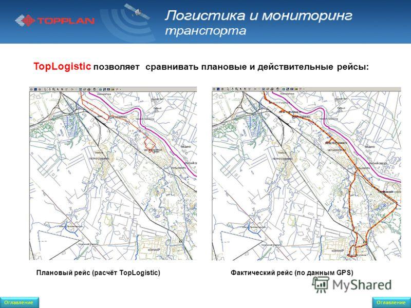 TopLogistic позволяет сравнивать плановые и действительные рейсы: Оглавление Фактический рейс (по данным GPS)Плановый рейс (расчёт TopLogistic) Оглавление