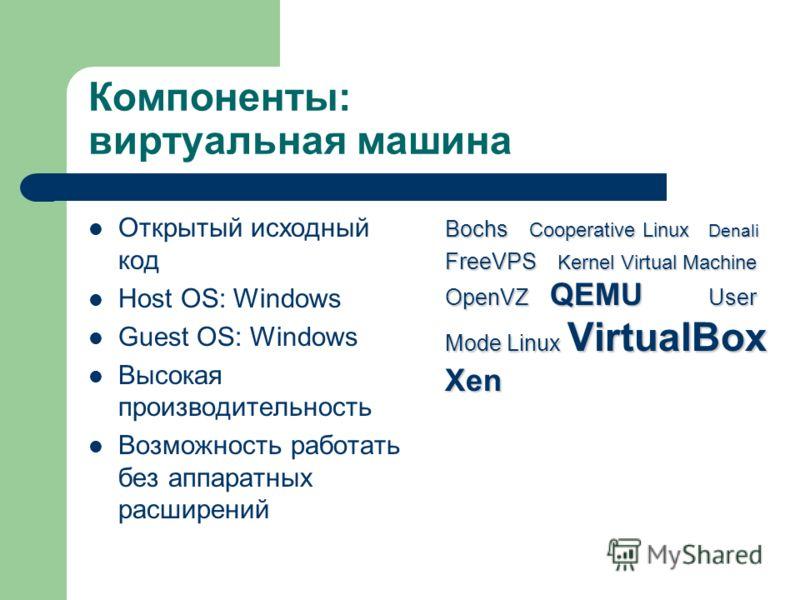 Компоненты: виртуальная машина Открытый исходный код Host OS: Windows Guest OS: Windows Высокая производительность Возможность работать без аппаратных расширений Bochs Cooperative Linux Denali FreeVPS Kernel Virtual Machine OpenVZ QEMU User Mode Linu
