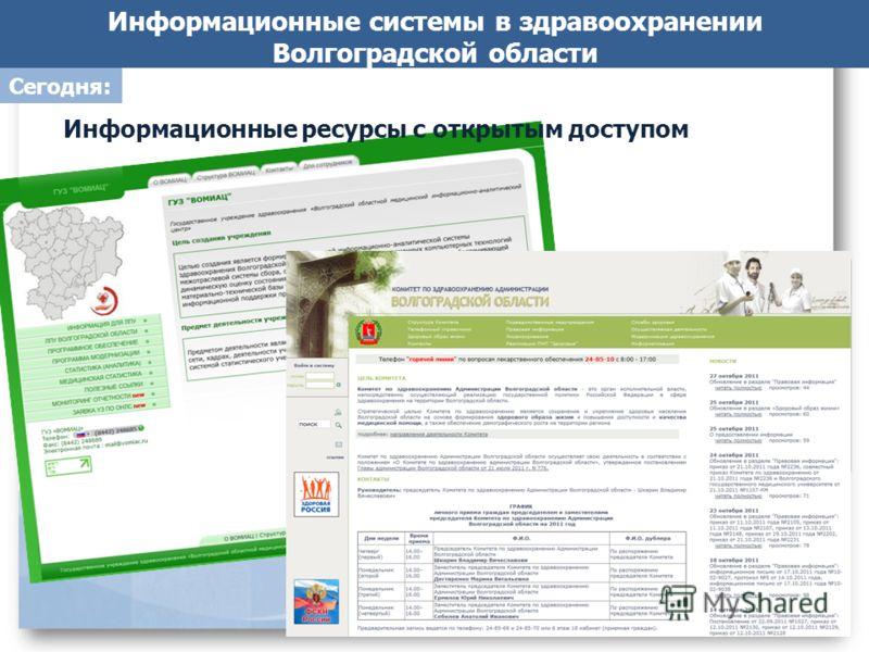 Информационные системы в здравоохранении Волгоградской области Информационные ресурсы с открытым доступом Сегодня: 6