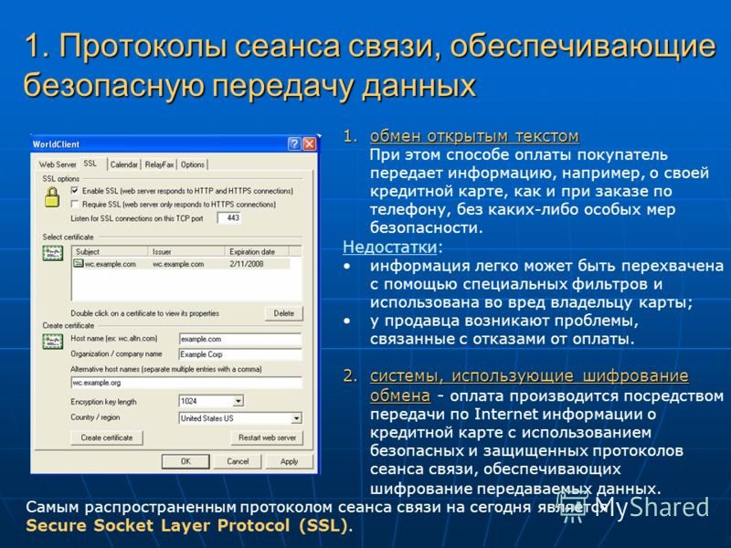 1. Протоколы сеанса связи, обеспечивающие безопасную передачу данных 1.обмен открытым текстом При этом способе оплаты покупатель передает информацию, например, о своей кредитной карте, как и при заказе по телефону, без каких-либо особых мер безопасно