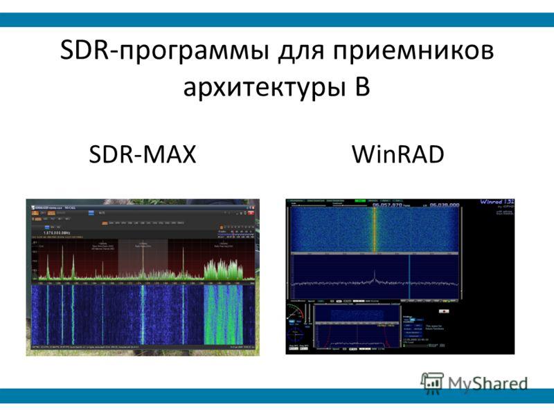 SDR-программы для приемников архитектуры B SDR-MAXWinRAD