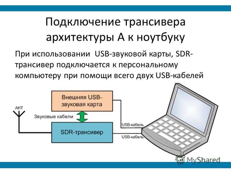 Подключение трансивера архитектуры А к ноутбуку При использовании USB-звуковой карты, SDR- трансивер подключается к персональному компьютеру при помощи всего двух USB-кабелей