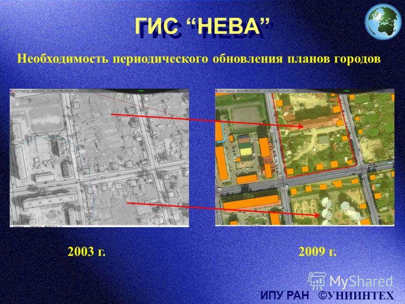 ГИС НЕВА Необходимость периодического обновления планов городов 2003 г.2009 г. ИПУ РАН © УНИИНТЕХ