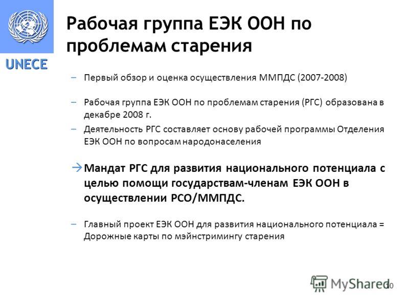 UNECE 10 Рабочая группа ЕЭК ООН по проблемам старения –Первый обзор и оценка осуществления ММПДС (2007-2008) –Рабочая группа ЕЭК ООН по проблемам старения (РГС) образована в декабре 2008 г. –Деятельность РГС составляет основу рабочей программы Отделе