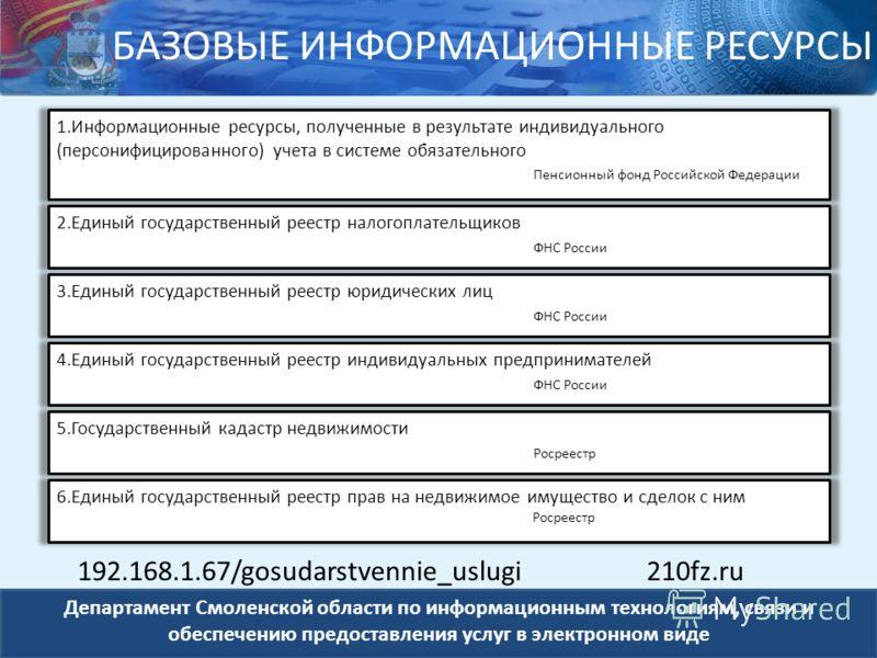 Департамент Смоленской области по информационным технологиям, связи и обеспечению предоставления услуг в электронном виде 1.Информационные ресурсы, полученные в результате индивидуального (персонифицированного) учета в системе обязательного Пенсионны