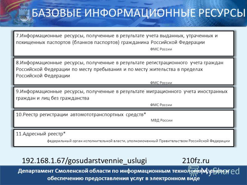 Департамент Смоленской области по информационным технологиям, связи и обеспечению предоставления услуг в электронном виде 7.Информационные ресурсы, полученные в результате учета выданных, утраченных и похищенных паспортов (бланков паспортов) граждани