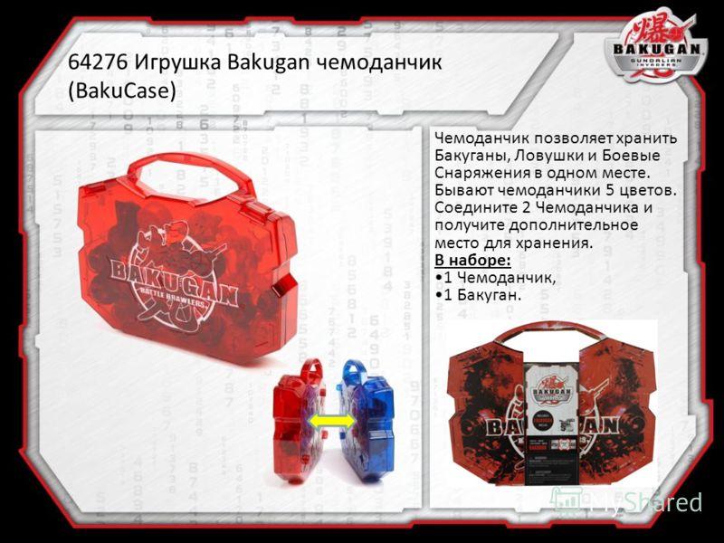 64276 Игрушка Bakugan чемоданчик (BakuCase) Чемоданчик позволяет хранить Бакуганы, Ловушки и Боевые Снаряжения в одном месте. Бывают чемоданчики 5 цветов. Соедините 2 Чемоданчика и получите дополнительное место для хранения. В наборе: 1 Чемоданчик, 1