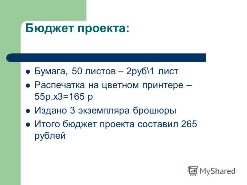 Бюджет проекта: Бумага, 50 листов – 2руб\1 лист Распечатка на цветном принтере – 55р.х3=165 р Издано 3 экземпляра брошюры Итого бюджет проекта составил 265 рублей