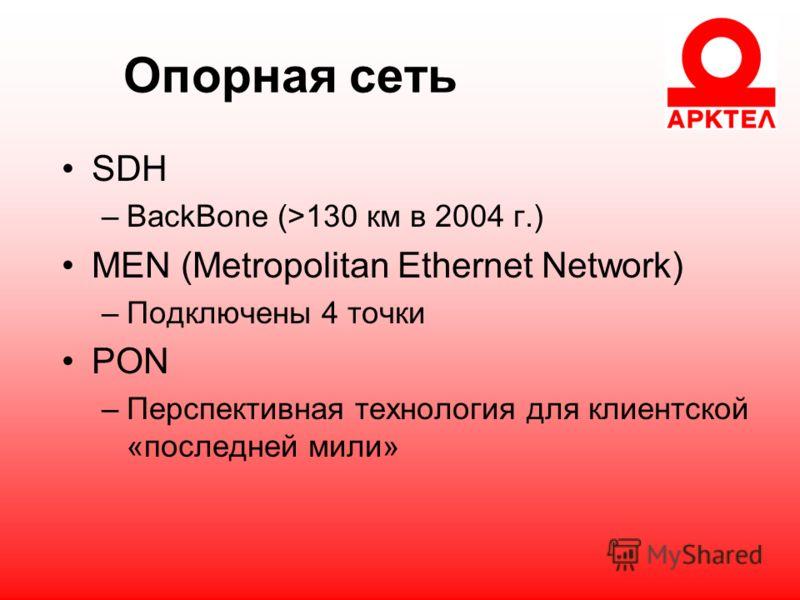 Опорная сеть SDH –BackBone (>130 км в 2004 г.) MEN (Metropolitan Ethernet Network) –Подключены 4 точки PON –Перспективная технология для клиентской «последней мили»