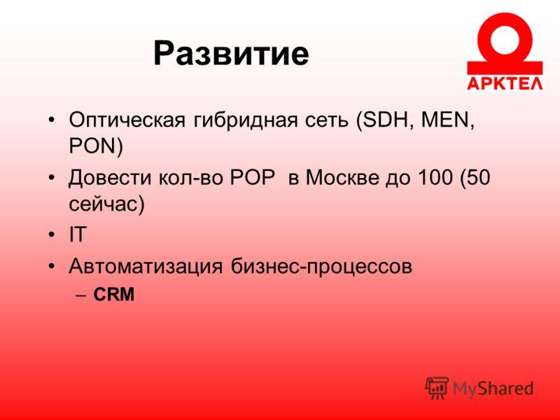 Развитие Оптическая гибридная сеть (SDH, MEN, PON) Довести кол-во POP в Москве до 100 (50 сейчас) IT Автоматизация бизнес-процессов –CRM