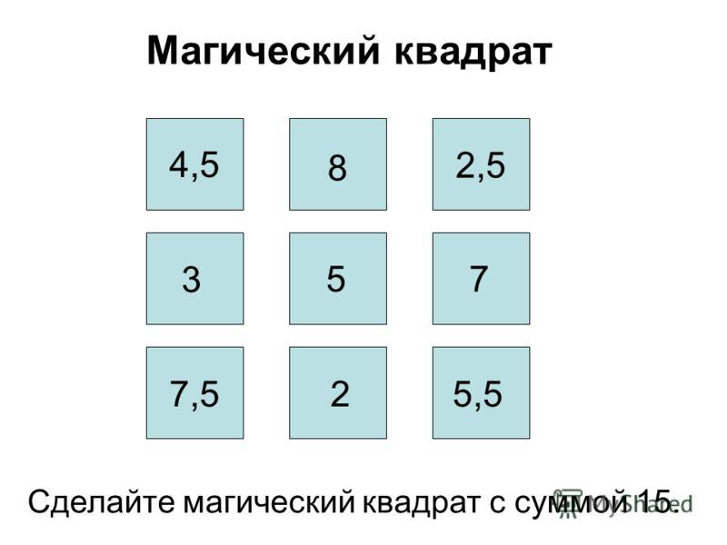 Магический квадрат Сделайте магический квадрат с суммой 15. 7,5 4,5 2,5 8 5 5,5 3 2 7