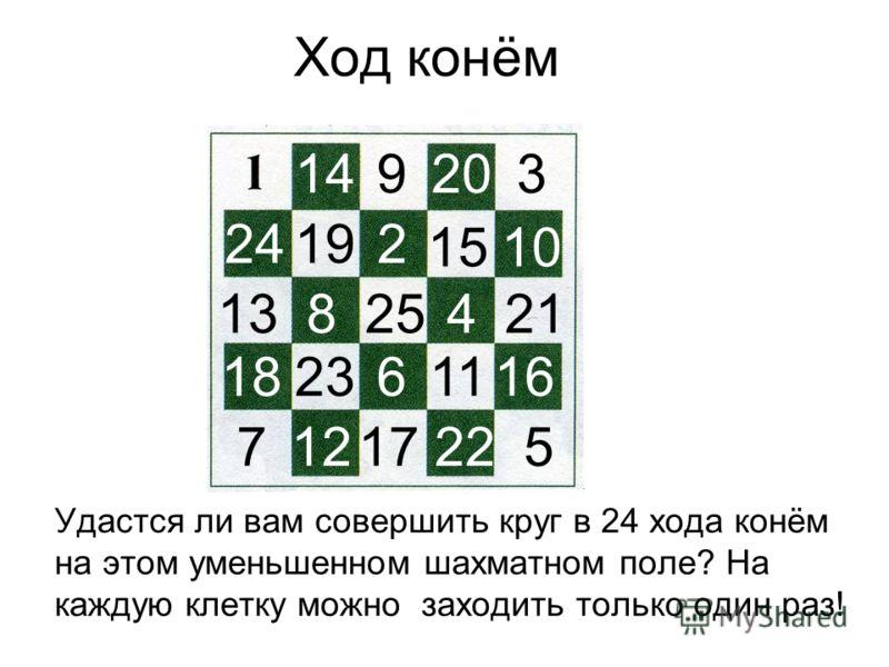 Ход конём Удастся ли вам совершить круг в 24 хода конём на этом уменьшенном шахматном поле? На каждую клетку можно заходить только один раз! 14 25 9 1924 5 3 2 6 20 17 21 22 1384 18 7 15 11 10 12 1623