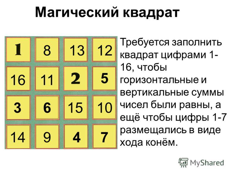 Магический квадрат Требуется заполнить квадрат цифрами 1- 16, чтобы горизонтальные и вертикальные суммы чисел были равны, а ещё чтобы цифры 1-7 размещались в виде xoда конём. 81213 1611 5 361015 14947