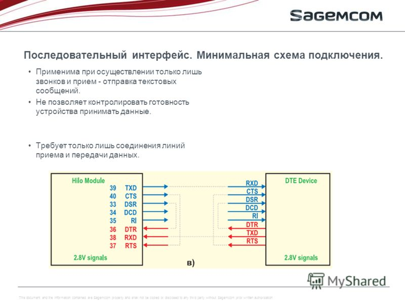 This document and the information contained are Sagemcom property and shall not be copied or disclosed to any third party without Sagemcom prior written authorization Последовательный интерфейс. Минимальная схема подключения. Применима при осуществле