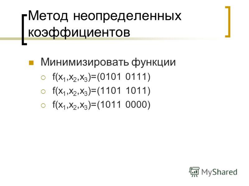 Метод неопределенных коэффициентов Минимизировать функции f(x 1,x 2,x 3 )=(0101 0111) f(x 1,x 2,x 3 )=(1101 1011) f(x 1,x 2,x 3 )=(1011 0000)
