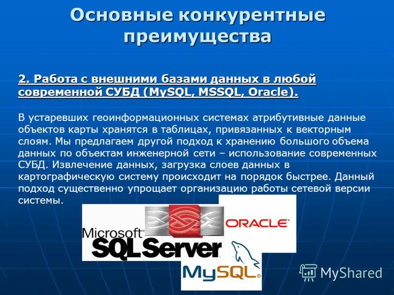 2. Работа с внешними базами данных в любой современной СУБД (MySQL, MSSQL, Oracle). В устаревших геоинформационных системах атрибутивные данные объектов карты хранятся в таблицах, привязанных к векторным слоям. Мы предлагаем другой подход к хранению