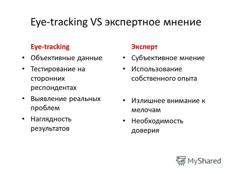 Eye-tracking VS экспертное мнение Eye-tracking Объективные данные Тестирование на сторонних респондентах Выявление реальных проблем Наглядность результатов Эксперт Субъективное мнение Использование собственного опыта Излишнее внимание к мелочам Необх