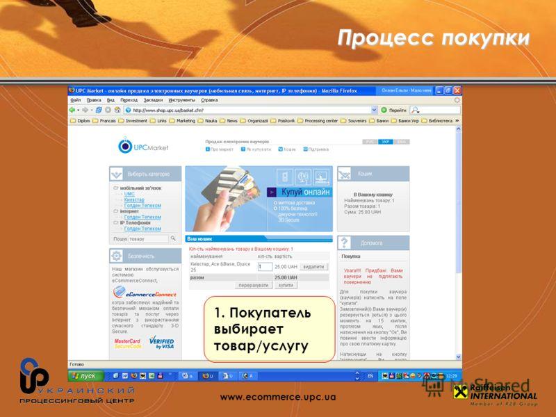 1. Покупатель выбирает товар/услугу Процесс покупки www.ecommerce.upc.ua