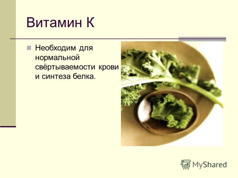 Витамин К Необходим для нормальной свёртываемости крови и синтеза белка.