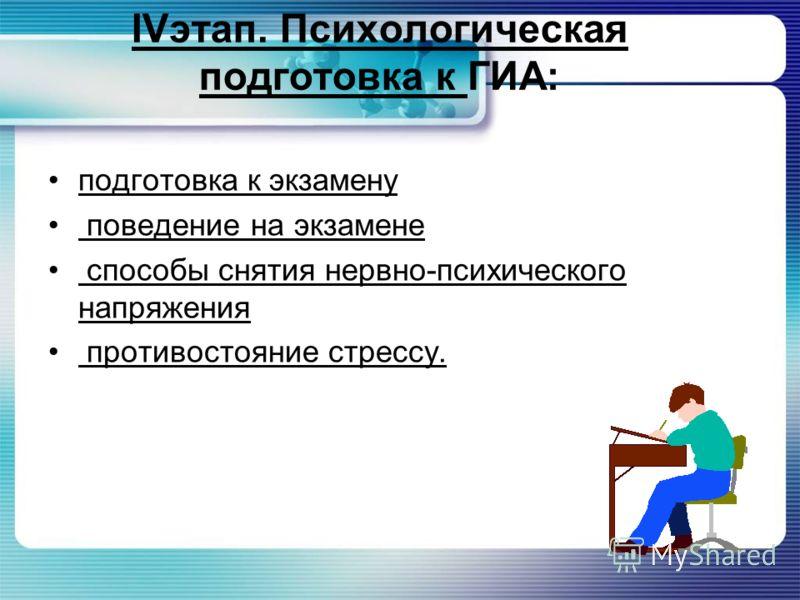 IVэтап. Психологическая подготовка к ГИА: подготовка к экзамену поведение на экзамене способы снятия нервно-психического напряжения противостояние стрессу.