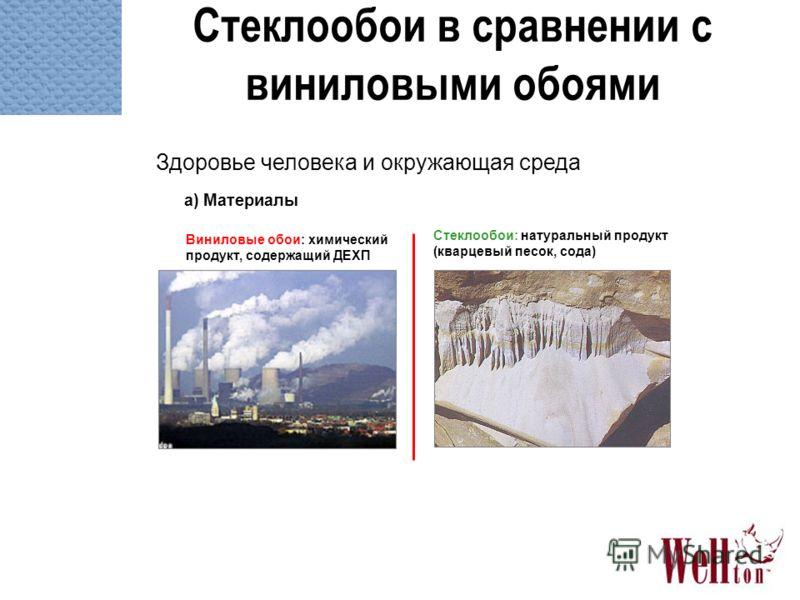 Стеклообои в сравнении с виниловыми обоями Здоровье человека и окружающая среда a) Материалы Стеклообои: натуральный продукт (кварцевый песок, сода) Виниловые обои: химический продукт, содержащий ДЕХП