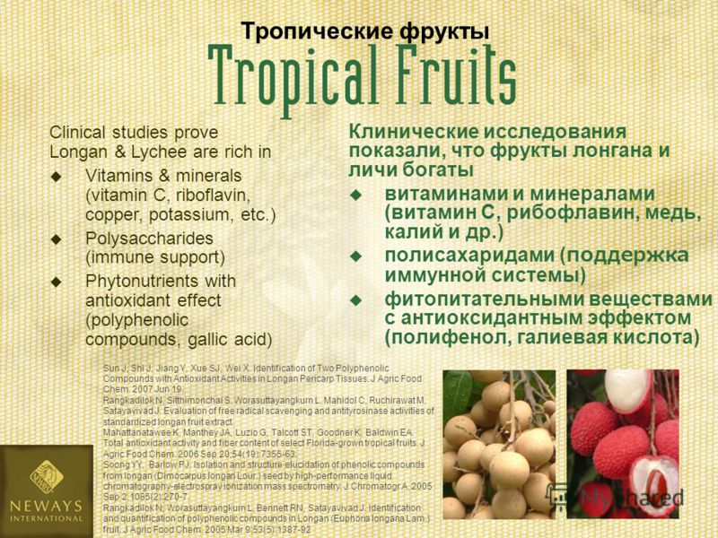 Клинические исследования показали, что фрукты лонгана и личи богаты витаминами и минералами (витамин С, рибофлавин, медь, калий и др.) полисахаридами (поддержка иммунной системы) фитопитательными веществами с антиоксидантным эффектом (полифенол, гали