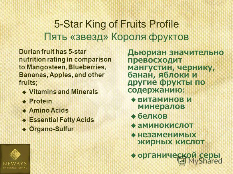 Дьюриан значительно превосходит мангустин, чернику, банан, яблоки и другие фрукты по содержанию: витаминов и минералов белков аминокислот незаменимых жирных кислот органической серы 5-Star King of Fruits Profile Пять «звезд» Короля фруктов Durian fru