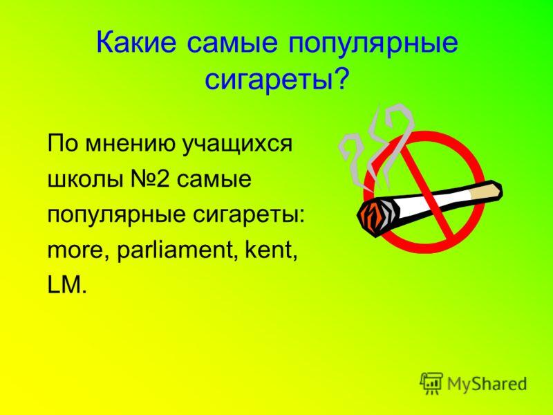 Какие самые популярные сигареты? По мнению учащихся школы 2 самые популярные сигареты: more, parliament, kent, LM.