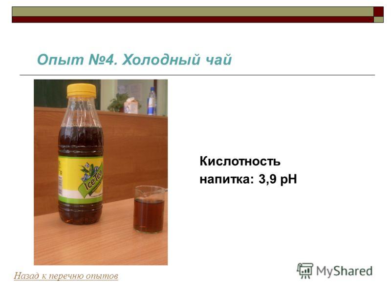 Опыт 4. Холодный чай Назад к перечню опытов Кислотность напитка: 3,9 pH