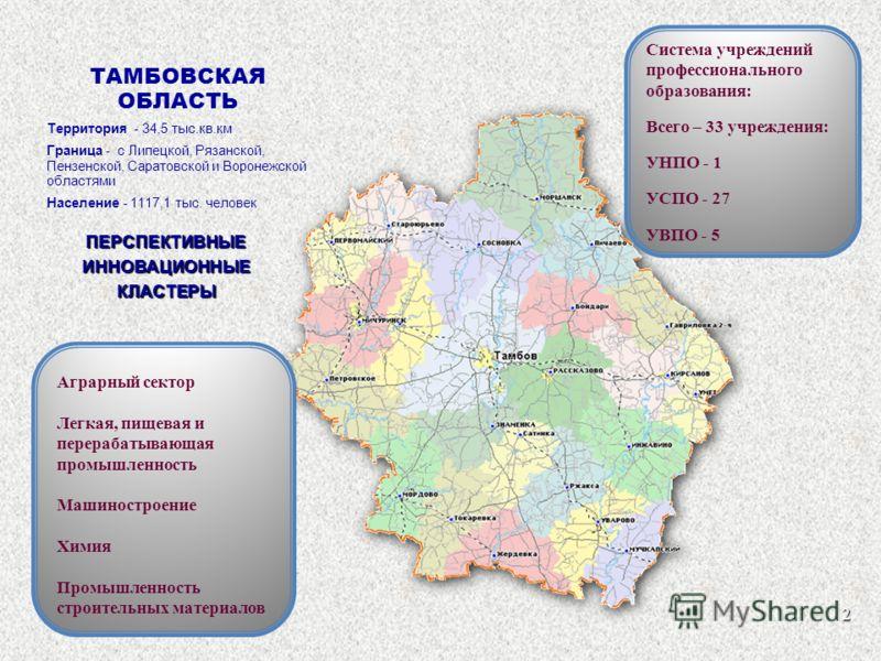 ТАМБОВСКАЯ ОБЛАСТЬ Территория - 34,5 тыс.кв.км Граница - с Липецкой, Рязанской, Пензенской, Саратовской и Воронежской областями Население - 1117,1 тыс. человек ПЕРСПЕКТИВНЫЕИННОВАЦИОННЫЕКЛАСТЕРЫ Аграрный сектор Легкая, пищевая и перерабатывающая пром