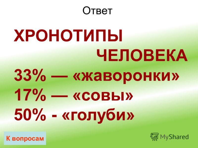Ответ К вопросам ХРОНОТИПЫ ЧЕЛОВЕКА 33% «жаворонки» 17% «совы» 50% - «голуби»