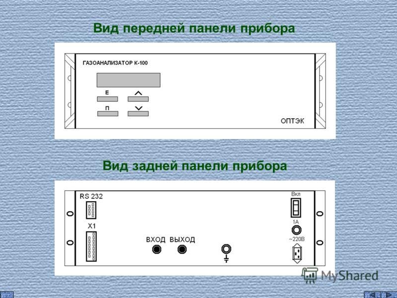 Вид передней панели прибора Вид задней панели прибора