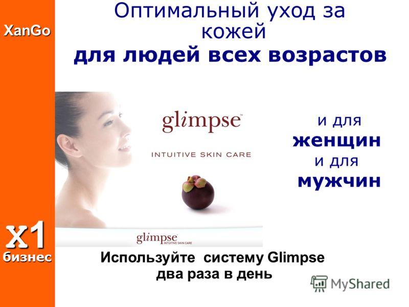 XanGo X1 бизнес и для женщин и для мужчин Оптимальный уход за кожей для людей всех возрастов Используйте систему Glimpse два раза в день