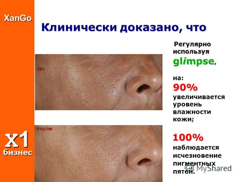 Клинически доказано, что Регулярно используя glimpse 90% Регулярно используя glimpse, на: 90% увеличивается уровень влажности кожи; 100% 100% наблюдается исчезновение пигментных пятен. после доXanGo X1 бизнес