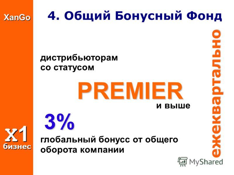 XanGo X1 бизнес 4. Общий Бонусный Фонд дистрибьюторaм со статусом PREMIER PREMIER и выше 3% 3% глобальный бонусс от общего оборота компании ежеквартально