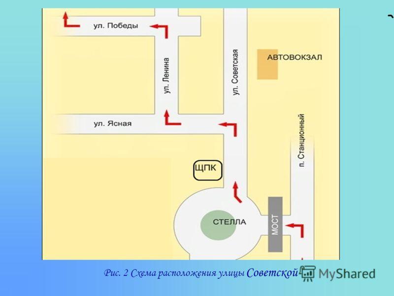 Рис. 2 Схема расположения улицы Советской