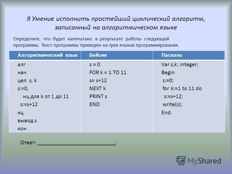 9 Умение исполнить простейший циклический алгоритм, записанный на алгоритмическом языке Алгоритмический языкБейсикПаскаль алг нач цел s, k s:=0, нц для k от 1 до 11 s:=s+12 кц вывод s кон s = 0 FOR k = 1 TO 11 s= s+12 NEXT k PRINT s END Var s,k: inte