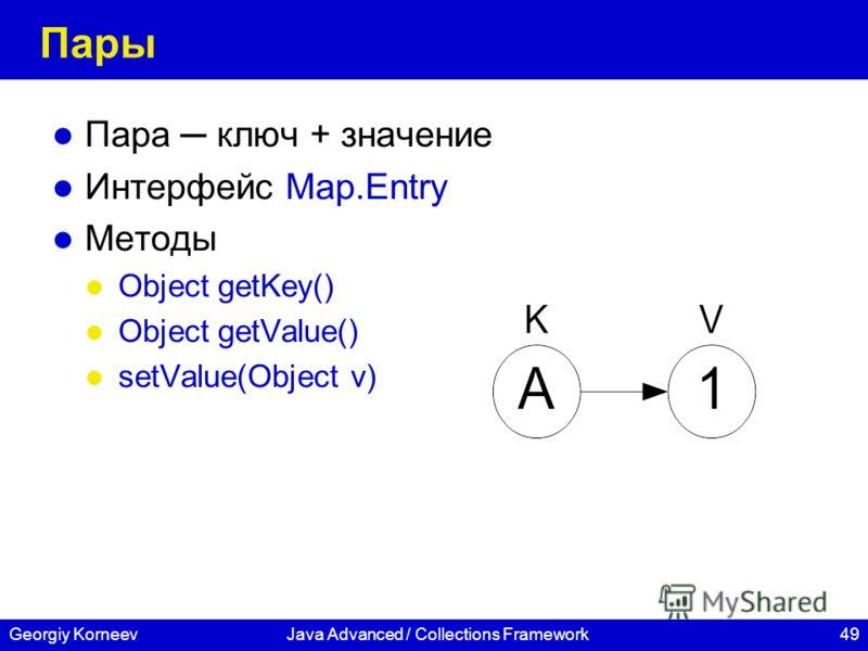 49Georgiy KorneevJava Advanced / Collections Framework Пары Пара ключ + значение Интерфейс Map.Entry Методы Object getKey() Object getValue() setValue(Object v)