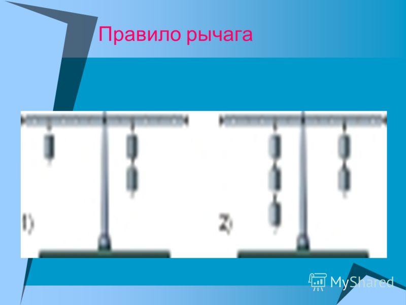 Момент силы – это произведение силы на плечо. M = F× L Правило моментов: сумма моментов сил, вращающих рычаг по часовой стрелке равна сумме моментов сил, вращающих рычаг против часовой стрелки. М 1 + М 2 = М 3 + М 4