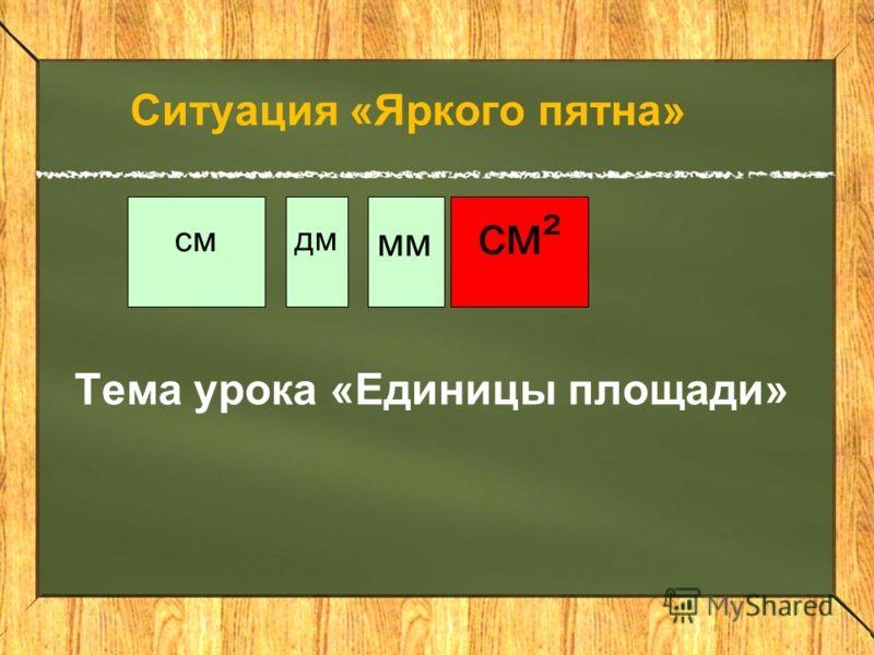 см дм мм см² Ситуация «Яркого пятна» Тема урока «Единицы площади»