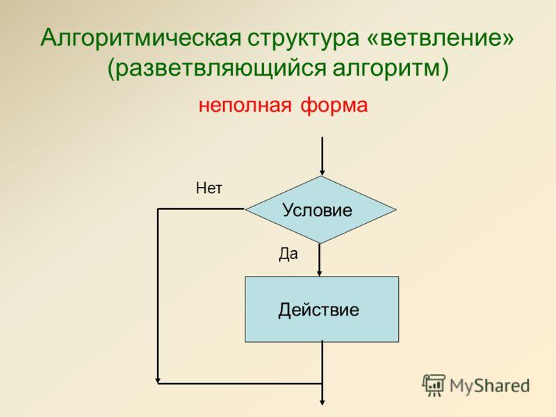 Алгоритмическая структура «ветвление» (разветвляющийся алгоритм) неполная форма Действие Условие Да Нет