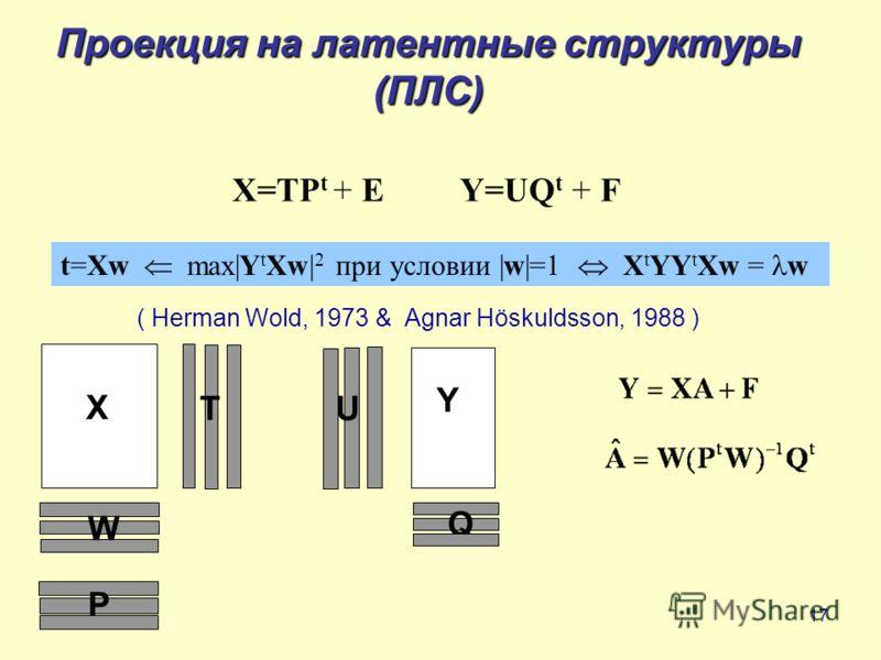 17 Проекция на латентные структуры (ПЛС) ( Herman Wold, 1973 & Agnar Höskuldsson, 1988 ) X=TP t + E Y=UQ t + F t=Xw max|Y t Xw| 2 при условии |w|=1 X t YY t Xw = w X Y T W P Q U