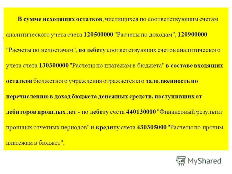 В сумме исходящих остатков, числящихся по соответствующим счетам аналитического учета счета 120500000