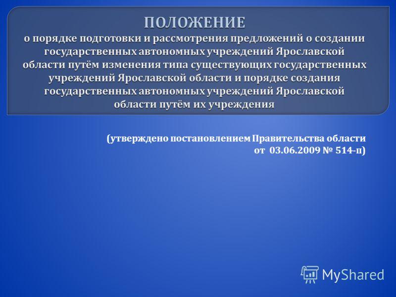( утверждено постановлением Правительства области от 03.06.2009 514- п )