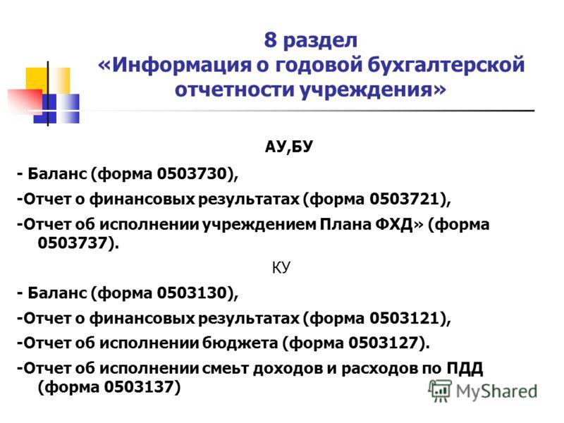 8 раздел «Информация о годовой бухгалтерской отчетности учреждения» АУ,БУ - Баланс (форма 0503730), -Отчет о финансовых результатах (форма 0503721), -Отчет об исполнении учреждением Плана ФХД» (форма 0503737). КУ - Баланс (форма 0503130), -Отчет о фи