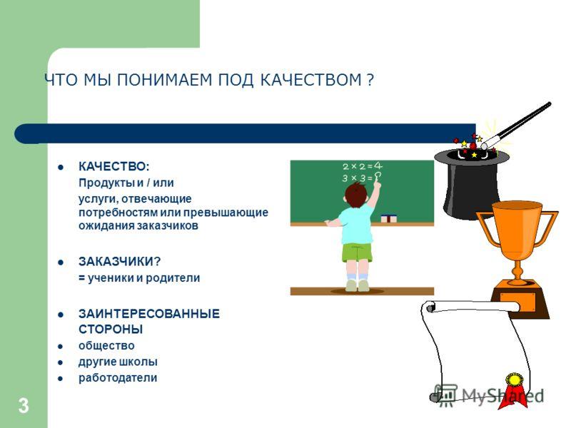 3 ЧТО МЫ ПОНИМАЕМ ПОД КАЧЕСТВОМ ? КАЧЕСТВО: Продукты и / или услуги, отвечающие потребностям или превышающие ожидания заказчиков ЗАКАЗЧИКИ? = ученики и родители ЗАИНТЕРЕСОВАННЫЕ СТОРОНЫ общество другие школы работодатели