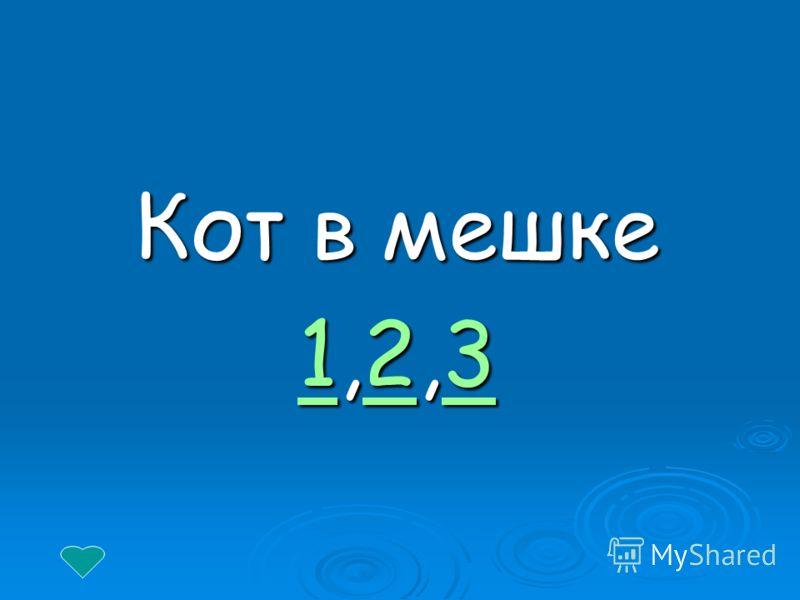 Кот в мешке 11,2,3 23 123